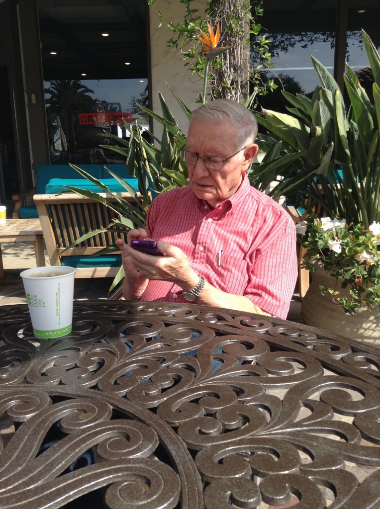 Dad checking his emails all morning on his iPhone in California. Coolest 81 year old techie!